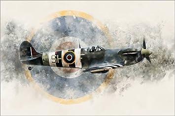 Posterlounge Alu Dibond 30 x 20 cm: Spitfire AB910 de airpowerart