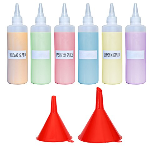 Oil Bottle Gourmet (Premium Plastic Squeeze Squirt Bottles for Sauces with Leak-Proof Cap (16 oz, 6 pack) with Writable Exterior and Funnels | Ideal for Condiments, Ketchup, BBQ, Dressing, Paint, Workshop and Pancake Art)