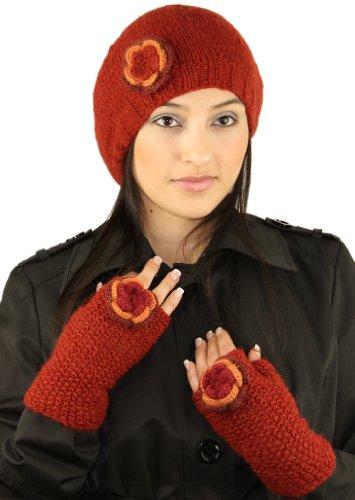 ハンドメイドPureアルパカベレー帽帽子と指なし手袋(カスタムMade Order )