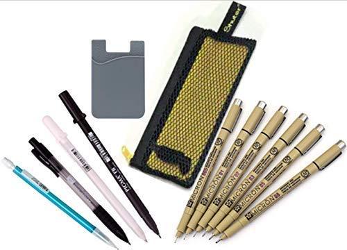 Sakura Pigma 30062 Micron Pen Set, Manga Gelly Roll White, Brush Pen Black, BIC Mechanical Pencil 0.5mm, Faber Castell Click Lead Holder 2mm