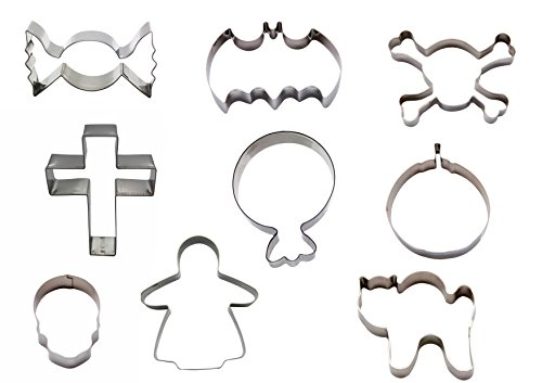 Silicone Gold Halloween Cookie Cutter, Stainless Steel, Grey, 13x 22x 3cm, Set of 9 -