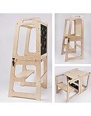 Montessori Pedagogiskt torn kökshjälp 2 i 1, lärtorn från 1 år, helper torn bord och stol med tavla, kökshjälp vikbar (naturlackerad)