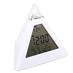 7 LED Change Colors Pyramid LCD Digital Snooze Alarm Clock