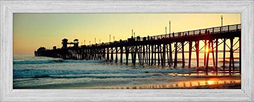 Easy Art Prints Panoramic Images's 'Pier in The Ocean at Sunset, Oceanside, San Diego County, California, USA' Premium Framed Canvas Art - 36