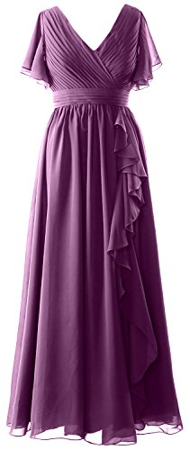 Neck the Short Sleeves MACloth Formal Bride Eggplant Evening Gown Women Dress V Mother of zS4BZXqZxw