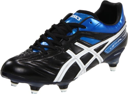 ASICS Men's Lethal Tigreor 4 ST Soccer Shoe,Black/White/Pacific Blue,8.5 M US