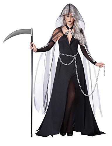 California Costumes Women's Lady Reaper Scary Ghost Demon Costume, Black, X-Large (Scary Woman Halloween Costume)