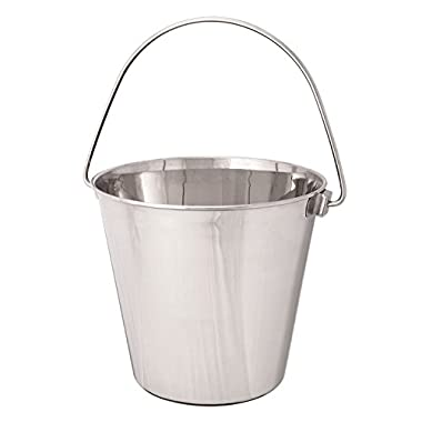 ProSelect Heavy Duty Stainless Steel Pails — Durable Pails for Kennels and Farms - 9¾ , 9-Quart