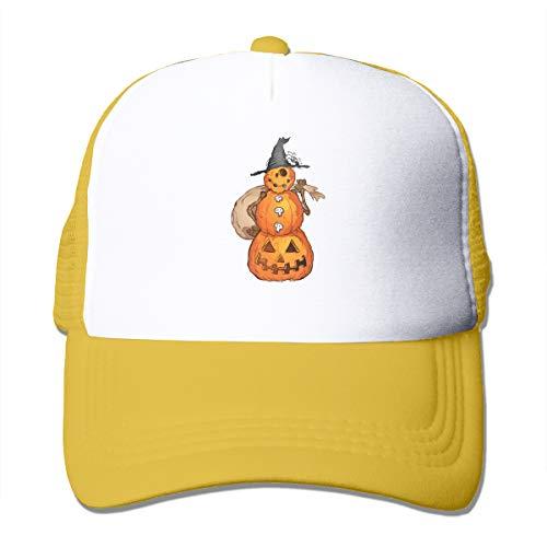 Pumpkin Scarecrow Adult Mesh Cap Adjustable Snapback Trucker Hat Yellow -