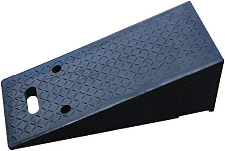 段差 スロープ 上り坂パッドトライアングルウッド反射道路勾配ステップに沿ってスロープ道路沿いのポータブルゴムの道 カーポート・車庫アクセサリ (色 : Black, Size : 70x30x23cm)