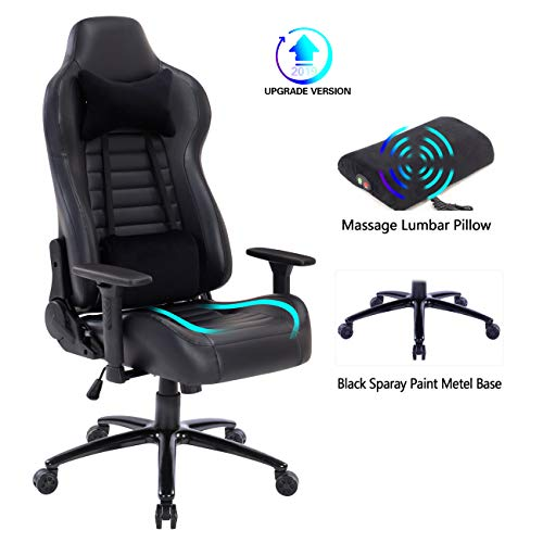 Blue Whale Massage Gaming Chair with Retractable Footrest,Adjustable Massage Lumbar Cushion and Headrest- High Back Ergonomic Leather Racing Executive Desk Computer Office Chair BW192 Red