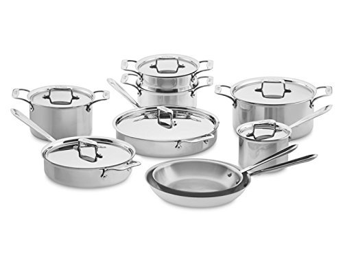 All-Clad SD501015-R D5 Polished Stainless Steel 5-Ply Bonded Dishwasher Safe Cookware Set, 15-Piece (Cookware Set Stainless All-clad Steel 10-piece D5)