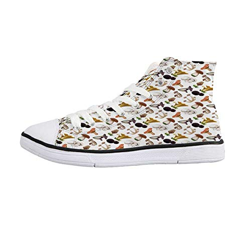 (Mushroom Stylish High Top Canvas Shoes,Realistic Style Various Kinds of Fresh Toadstools Truffles Natural Lifestyle Cook Decorative for Men & Boys,US Size 8.5)