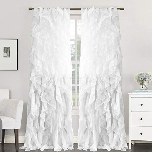 Sweet Home Collection 2 Pack Window Treatment Sheer Cascading Panel Vertical Ruffled Curtains in Many Sizes and Colors 84
