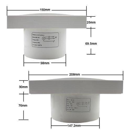 Hengda/® Ventilator Wandventilator L/üfter Abluft L/üfter 130 m/³//Std Bad /Ø 100 mm