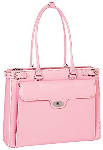 Briefcase 42 cm Pink McKlein Winnetka 15.6 Leather Ladies With Removable Sleeve