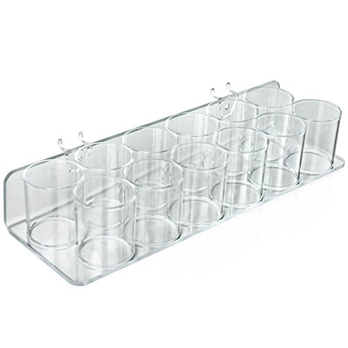 Count of 2 Clear Twelve Cup Tray for Pegboard/Slatwall 14.5''W x 5''D x 2.625''H