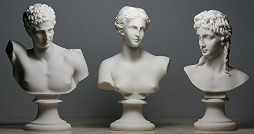 Aphrodite (Venus) & Hermes & EROS Set 3 Greek Roman God Bust Head Statue Sculpture ()