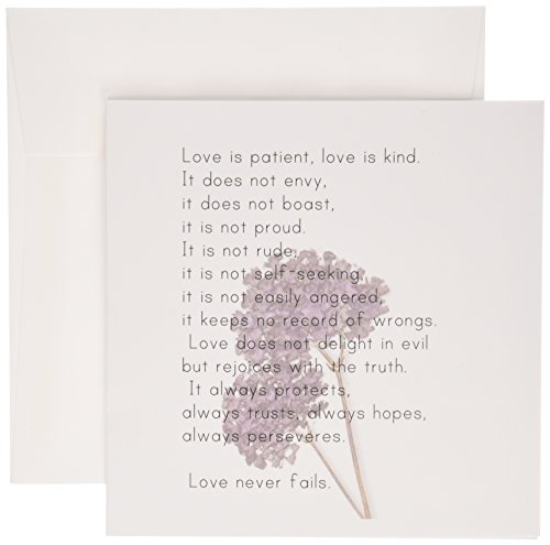 3dRose Love is Patient, Love is Kind Verse with Lavender Flowers - Inspirational - Greeting Cards, 6 x 6 inches, set of 12 (gc_56229_2)