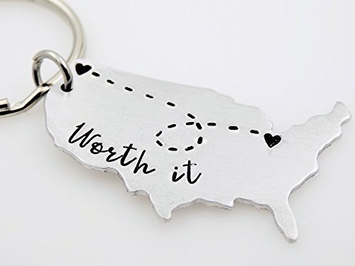 Long distance gift for her or him Custom USA Map keychain LDRSHIP ldr worth every mile going away gift Handstamped Key chain couples gift