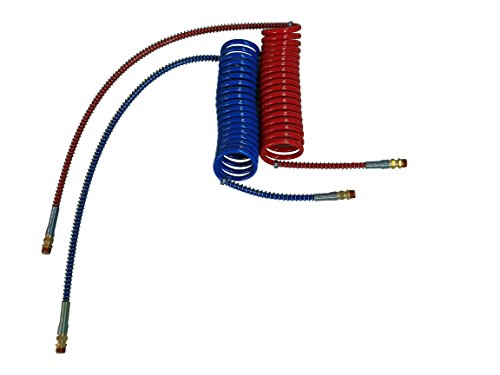 (COILED AIR SET LINE ASSEMBLY RED & BLUE TRUCK TRAILER BRAKE COIL SET, 15' LENGTH; 1 X 12