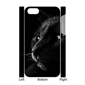 3D For Samsung Galaxy S6 Case Cover , Cute Black Cat In The Dark For Samsung Galaxy S6 Case Cover {White}