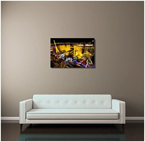 "30/""x20/"" or 20/""x16/"" Las Vegas Night Skyline II Gallery Wrapped Canvas Print"
