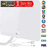1byone 50 Miles Amplified HDTV Antenna with Amplifier Booster USB Power Supply to