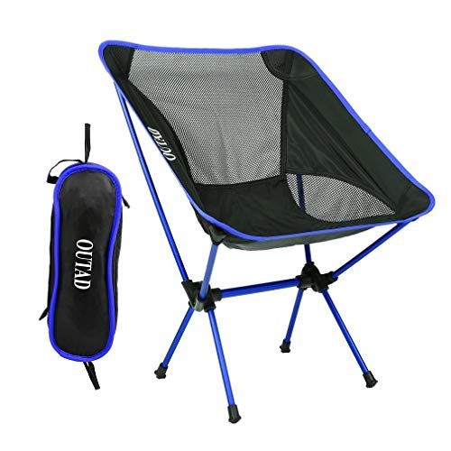 Zozu OUTAD Aluminum Alloy Folding Camping Fishing Chair Blue Ultralight Portable Picnic Beach Garden Chair For Outdoor Fishing (Dark Blue)
