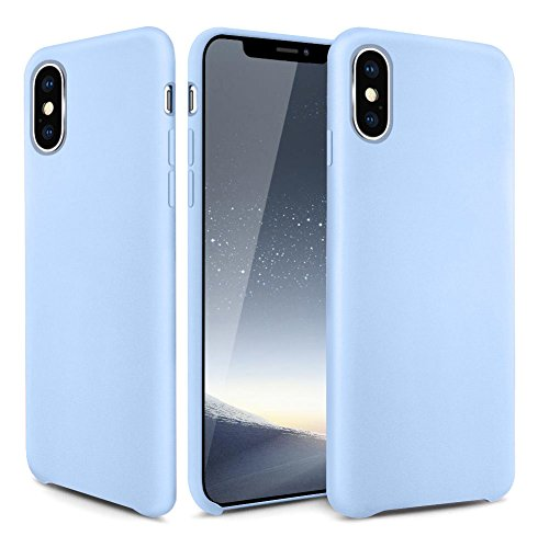 Iphone Blue Silicone Skin - iPhone X Case, OCYCLONE [Ultra-Thin Series] Liquid Silicone iPhone X Case Rubber Shockproof with Soft Microfiber Cloth Cushion Blue Slim Fit For Apple iPhone X (2017) Protective Case - Light Blue