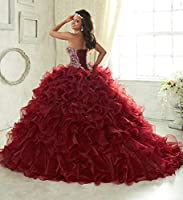 Wanshaqin Women's Heavy Beaded Sweetheart Ball Gowns Dresses Organza Ruffles Quinceanera Dresses for Sweet 16