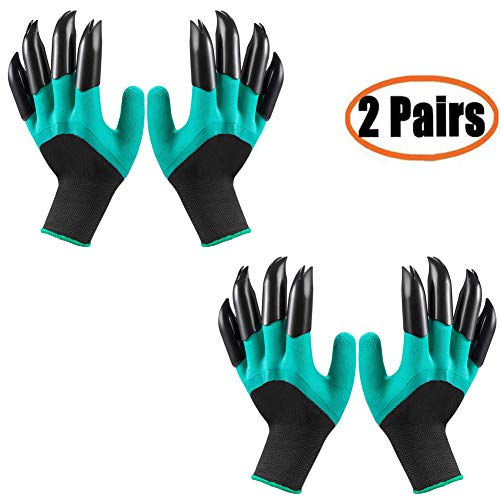 Garden Genie Gloves with Claws(2019 Upgrade), Waterproof and Breathable Garden Gloves for Digging Planting, Best Gardening Gifts for Women and Men (Green Claw 2 Pairs) - Gloves Waterproof Gardening