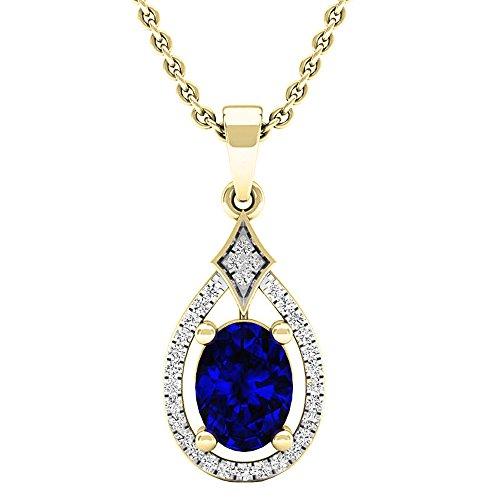 Dazzlingrock Collection 14K 8X6 MM Oval Lab Created Blue Sapphire & Round Diamond Ladies Pendant, Yellow Gold ()