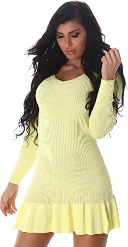 Voyelles - Vestido - Noche - Básico - Manga Larga - para mujer amarillo