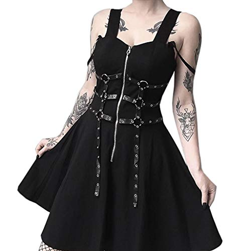 TWGONE Gothic Dresses for Women Black Zipper Pleated Strap Street Punk Wind Cosplay Dress(Small,Black) -