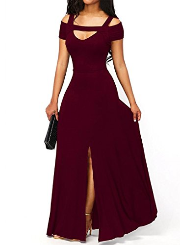 Women's Sexy V neck Cold Shoulder Short Sleeve Maxi Dress Split Formal Evening Party Long Dress Prom Gowns Solid Red M 8 10