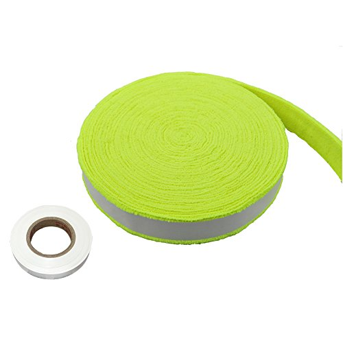 FANGCAN Towel Overgrip for Squash Tennis and Badminton Rackets 394 inches Long 7 Color (Fluorescent yellow)