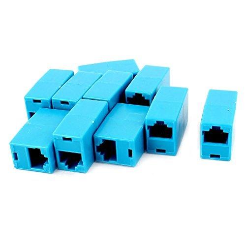eDealMax 10 piezas de RJ45 8P8C F/F Conector de red por Cable adaptador de acoplamiento Azul