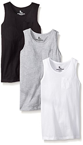 3 Shirts Pack (American Hawk Big Boys 3 Piece Pack Pocket Tank Top, White/Black/Heather Grey,)