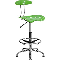 Flash Furniture Vibrant Spicy Lime and Chrome Drafting Stool with Tractor Seat