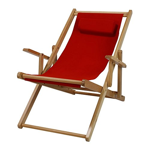 MD Group Patio Sling Chair Adjustable Recliner Red Canvas Outdoor Lounge Seat Furniture - Sling Adjustable Lounge Chair