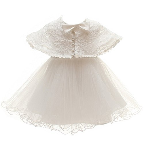 Meiqiduo Christening Baptism Dresses for Baby Girl Dedication Christening Baptism Gowns with Cloak for Age 18-24 ()