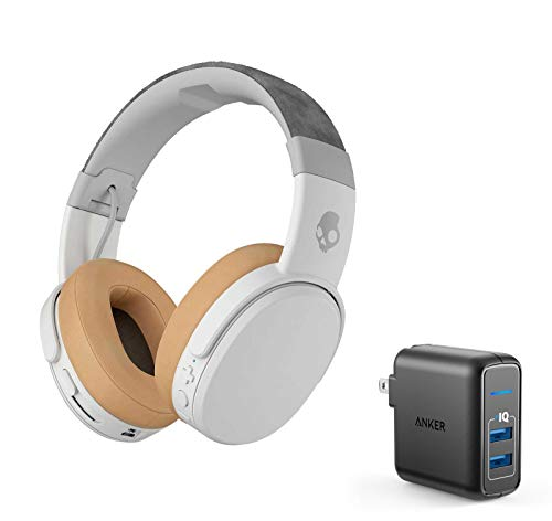 Skullcandy Crusher Foldable Noise Isolating Over-Ear Wireless Bluetooth Immersive Headphone Bundle with Anker 2 Port USB Wall Charger - Gray/Tan