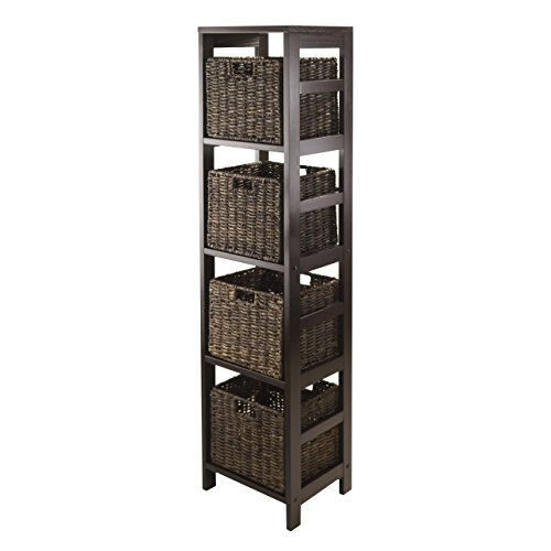 Winsome Granville 5-Piece Storage Tower Shelf with 4 Foldable Baskets, Espresso (Storage Tower With Baskets)