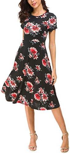 Urban CoCo Womens Floral Print Short Sleeve Flared Midi Dress