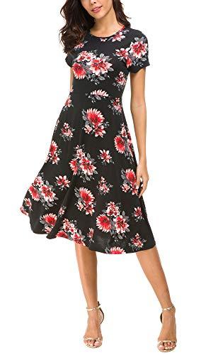 Urban CoCo Women's Floral Print Short Sleeve Flared Midi Dress (L, 4)