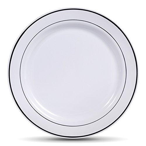 Select Settings [50 COUNT] Dinner Disposable Plastic Plates, White with Silver Rim 10.25-Inch