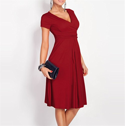 Weekendy Deep V Neck Dress Slim Fold Dress Robe  Manches Courtes Robe de Couleur Unie Wine Red