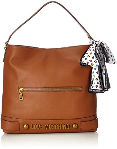 Love Moschino Shoulder Bag In Brown Leather With Golden Embossed Logo. Shoulder Handle, Inside Pockets, Magnetic Button (Moschino Button Pattern)
