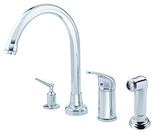 (Danze D409112 Melrose Single Handle High-Rise Kitchen Faucet with Side Spray and Soap Dispenser, Chrome)